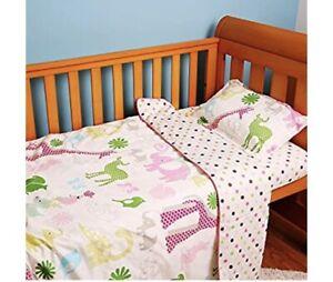 Girls Pink Elephant Jungle Baby Cot Duvet Sheet Pillow Set 100% Organic Cotton