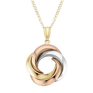 Knot Pendant Necklace 10K Multi-Tone Gold With 18'' Chain