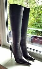 GIANMARCO LORENZI Black Leather Boots With Steel Heels gr. EUR 38