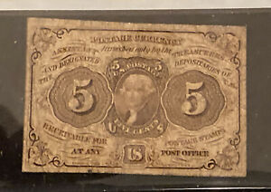 1862 U.S. 5 CENT FRACTIONAL POSTAGE CURRENCY NOTE VERY GOOD FR 1230