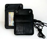 Set of 2 Genuine Leather Neck Badge Holder ID Pouch Trap Wallet Travel New