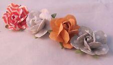 Set of (4) Rose Lapel Pin - Red & Grey - Men's Accessories- Weddings / Proms