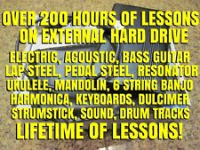 200 Hours Of Lesson On External Hard Drive! Guitar, Bass, Ukulele Lap Steel MORE
