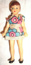 "German Doll Minature Vintage 4.5"" ARI Rubber Girl East Germany Made Plastic"