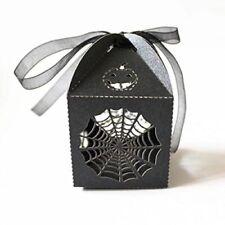 10 Laser Cut Ragnatela Zucca Regalo Scatole Caramelle Halloween perlescenti Nero Nastro