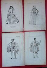 4 gravures XIX Régne de HENRI II Médicis Elisabeth Lorainne duc Aumale  d'Albret