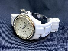 RELIC MULTI FUNCTION WOMEN'S GOLD TONE AND WHITE WATCH CRYSTAL ACCENts Working
