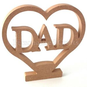 DAD In Heart Shape With Stand Birthday Gift 200mm 20cm High