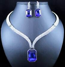 CHIC AUSTRIAN RHINESTONE CRYSTAL BIB NECKLACE EARRINGS SET PROM N1789B BLUE