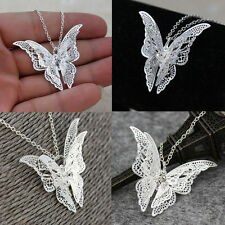 Hollow-out Silver Butterfly Pendant Necklace Elegant Solid Butterfly Silver