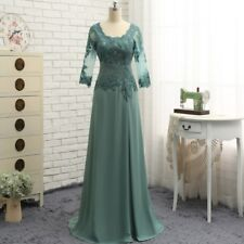 Long Mother of the Bride Dress Plus Size Formal Prom Evening Gown 3/4 Sleeves