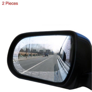 2x Blue Oval Car Anti-Glare Rainproof Rearview Mirror Protective Film 10x15cm