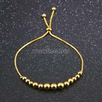 """Women Stainless Steel Bracelet Real Gold Plated Beaded Bangle Chain Jewelry 9.8"""""""