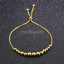 Women Stainless Steel Bracelet Real Gold Plated Beaded Bangle Chain Jewelry 9.8""