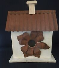 New!! Bird House with Metal Roof/Accent Flower Ready To Paint