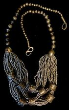 Statement Necklace Large CHUNKY Silvertone Beads + Seed Beads Tribal Inspired
