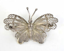 Filigree Butterfly Brooch Pin Fine Silver 600 Marked Antique