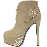 Damen Plateau Stiefeletten Ankle Boots High Heels in Sand Braun Beige Samt