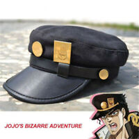 JoJo's Bizarre Adventure Kujo Jotaro Anime Cosplay Cap Sun Hat + Badges cosplay