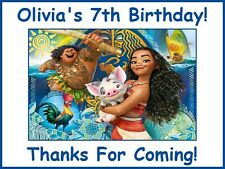 "(9) Personalized Moana Party Stickers,3 1/4"",Birthday Bag Box Labels Favors Tags"