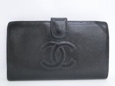 Auth CHANEL CC Bifold Long Wallet Caviar Skin Black Leather Spain 32170066700 G
