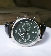 New Rotary Dolphin Standard Gents Chronograph Black Leather Watch GS00520/04