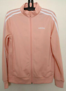 Adidas Women's Track Jacket Size S Essentials Tricot 3 Stripes Zip Peach FM7574