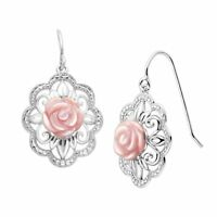 Pink Mother-of-Pearl Filigree Rose Drop Earrings in Sterling Silver