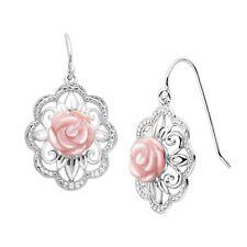 Earrings in Sterling Silver Pink Mother-of-Pearl Filigree Rose Drop