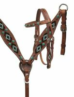 Showman Mini Leather Headstall & Breast Collar Set w/ Teal Beaded Inlay & Reins