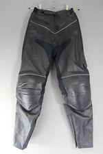 BLACK LEATHER BIKER TROUSERS + CE ARMOUR SIZE 10: WAIST 26 IN/INSIDE LEG 30 IN