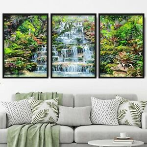Set of 3 FRAMED Waterfall Oasis Sketch Forest Botanical Wall Art Picture Poster