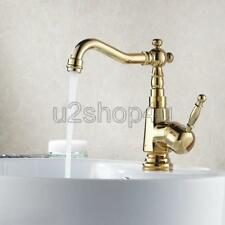 Luxury Gold Color Brass Single Handle Kitchen Sink Faucet Mixer Basin Tap Ugf003