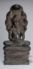 More details for antique bayon style khmer seated bronze naga meditation buddha - 51cm/20