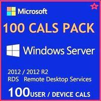 Microsoft Windows Server 2012 R2 Remote Desktop Services RDS 100 USER CALS