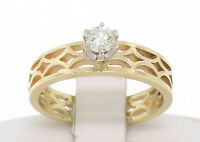 14k Yellow Gold 0.17ct Round Diamond Solitaire Ring w/ Pierced Open Work Setting