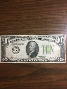 1934 $10 DOLLAR BILL LGS LIME GREEN SEAL FEDERAL RESERVE NOTE CHICAGO G Nice!