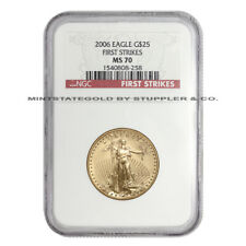 2006 $25 American Gold Eagle NGC MS70 First Strikes graded coin 1/2oz of 22KT