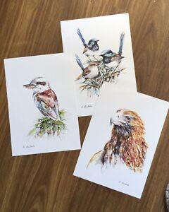 Aistralian Art Watercolour Prints 3 Bird Prints