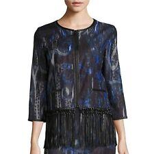 T Tahari Brunella Fringed Paisley Print Jacket, Black, M
