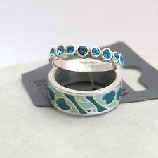 Pilgrim Jewelry Turquoise Crystal Mint Chrome Tone Ring Size 5.75 & 6.25: 341204