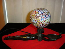 ART DECO BRONZE LAMP WITH MURANO MILLEFIORI GLASS SHADE.