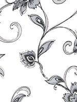 Formal Contemporary Shiny Dark Silver & Black Scroll on White Wallpaper TU27117