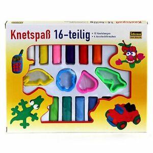 Idena 619035 - Knetspass Set, 16-teilig, mehrfarbig