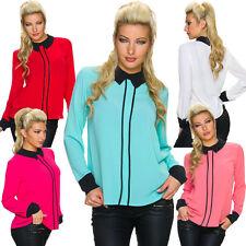 Langarm Damenblusen, - tops & -shirts mit klassischem Kragen ohne Muster