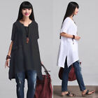 ZANZEA Tunic Women O Neck Cotton Irregular Short Sleeve Tops T-shirt Plus Size