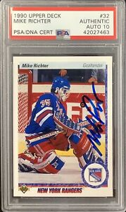 Mike Richter Signed 1990 Upper Deck #32 Rookie Card NY Rangers PSA/DNA Auto 10