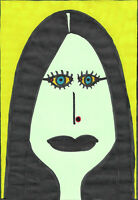 Original Drawing by Jay Snelling. Outsider Art Brut. Gothic Woman. Colourful.