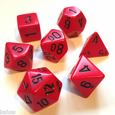 Chessex Dice Poly - Opaque Red with Black -Set Of 7- 25414 - Free Bag!  DnD