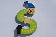 Lettre prenom de porte clown en bois S vert- Décoration de porte jeu et jouets**